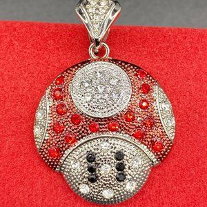 14k White Gold Plated Iced Super Mario Pendant